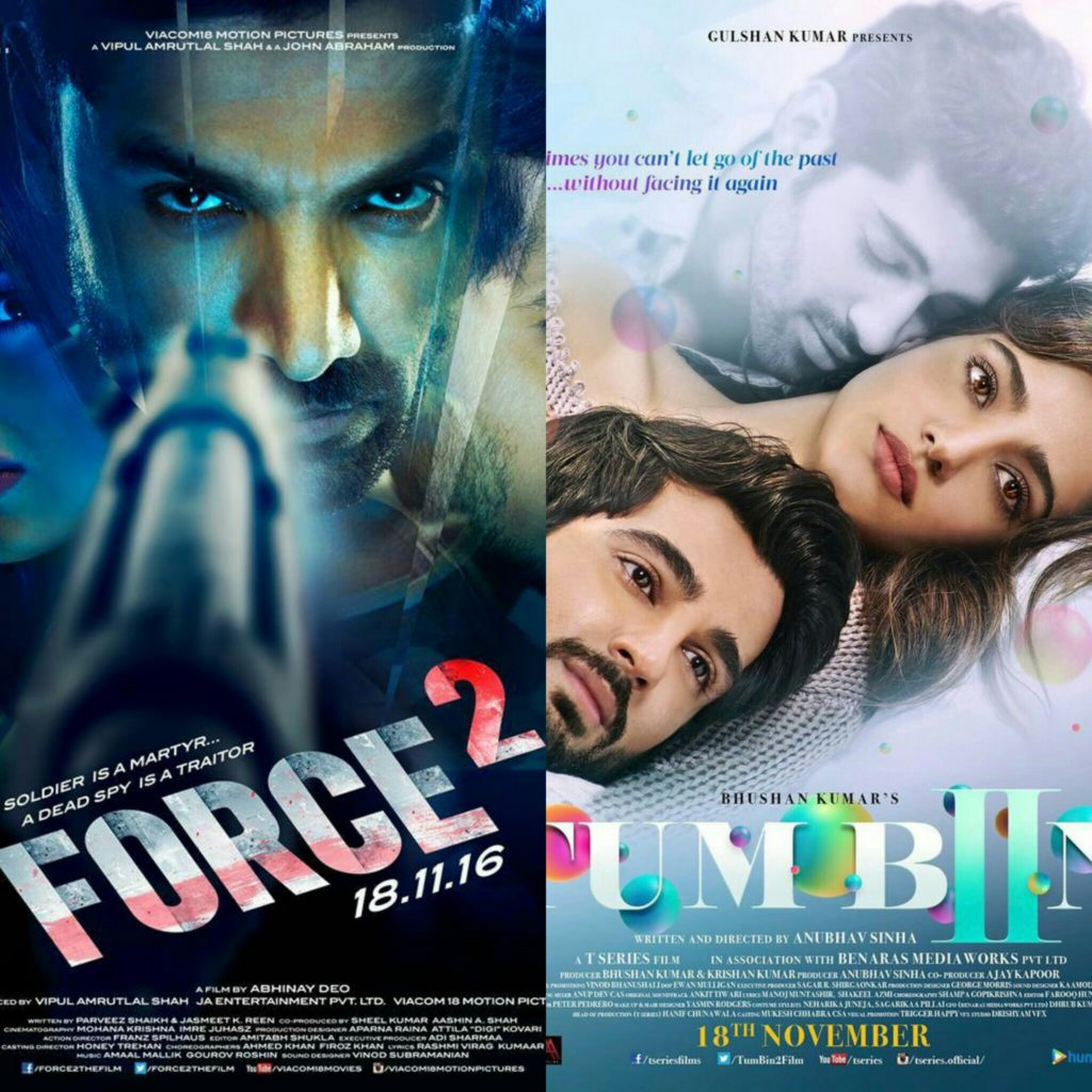 એક્શન અને  રોમાન્સ થી ભરપૂર બે સિક્વલ હિન્દી ફિલ્મ ફોર્સ-2 અને તુમ બિન -2 રિલીઝ