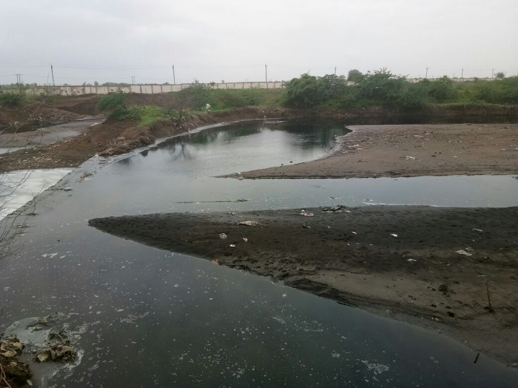 અંકલેશ્વર જીઆઇડીસી વરસાદી કાંસમાં પ્રદુષિત પાણી ભળ્યુ