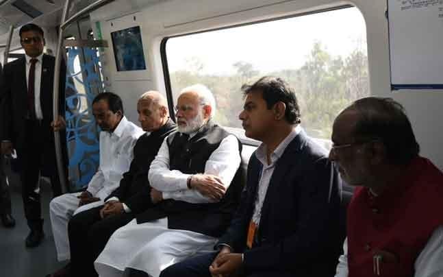 વડાપ્રધાન નરેન્દ્ર મોદીનાં હસ્તે હૈદરાબાદ મેટ્રો યોજનાનું કરાયુ ઉદ્દઘાટન