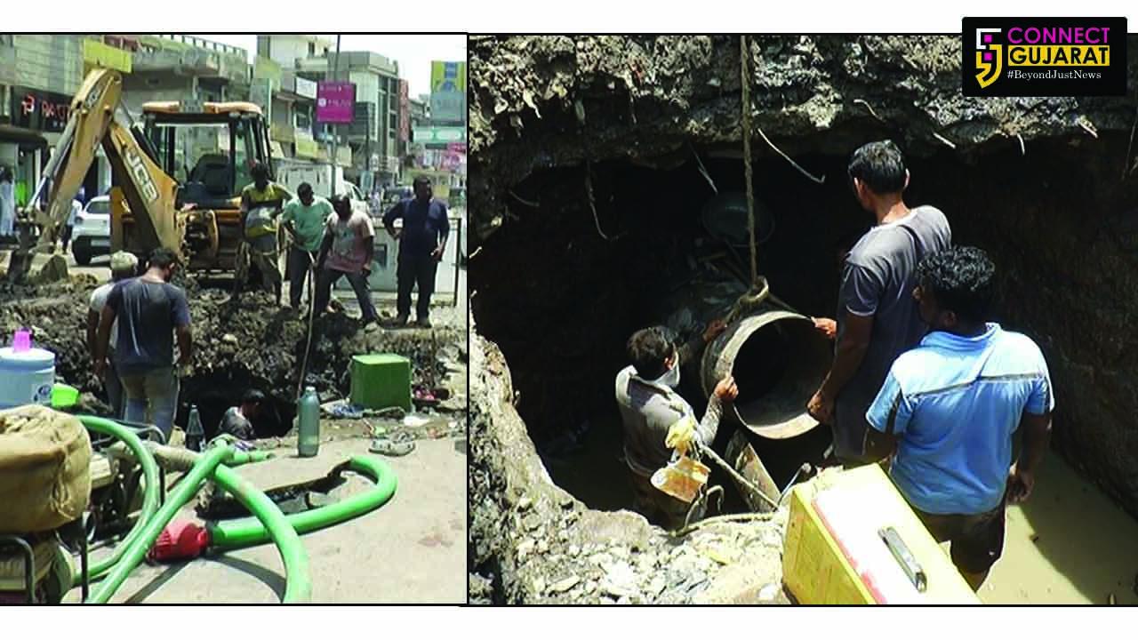 ભરૂચ : કસક ગરનાળા નજીક પીવાના પાણી પાઈપલાઈનમાં ભંગાણ:મુખ્યમાર્ગ જળબંબાકાર