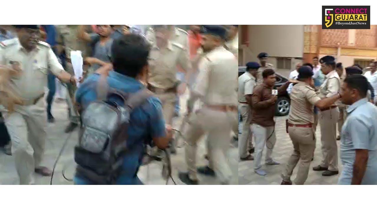 જૂનાગઢ: મંદિરની ચૂંટણી બાદ પોલીસનો મીડિયા પર હુમલો