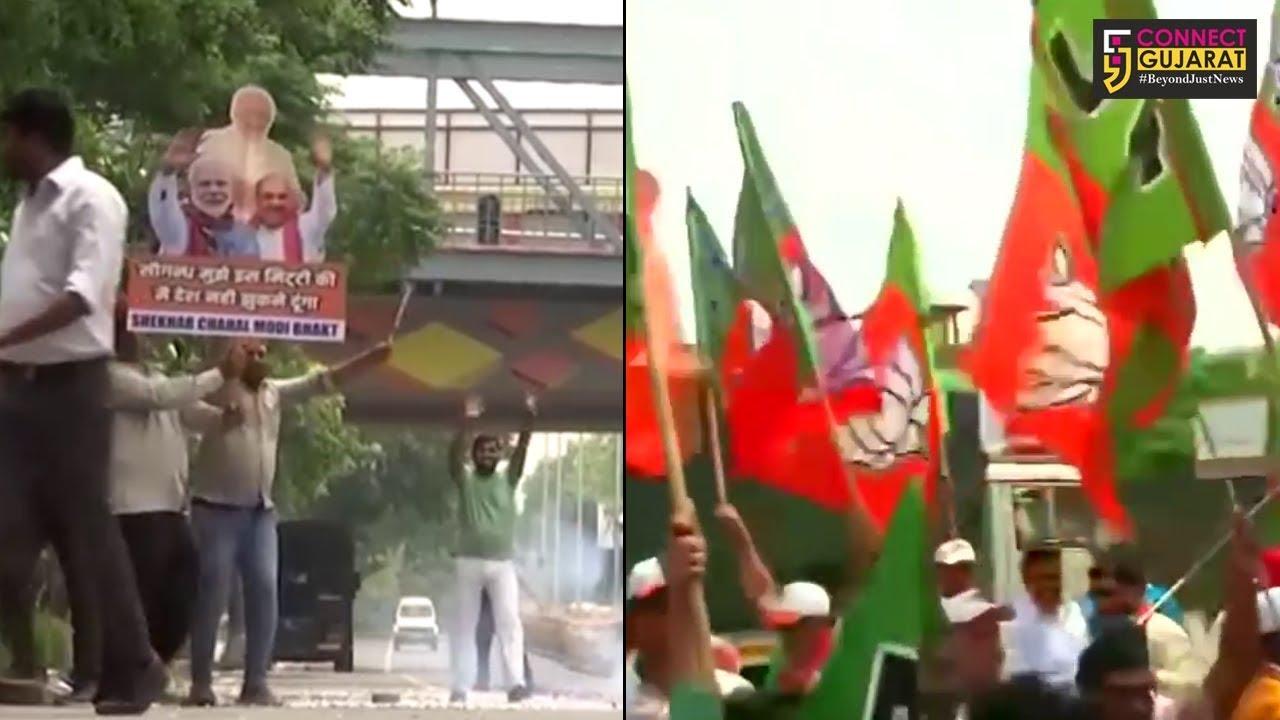 ગુજરાતમાં ભાજપનો ભગવો લહેરાતા નેતાઓ અને કાર્યકર્તાઓમાં છવાઇ ખુશીની લહેર