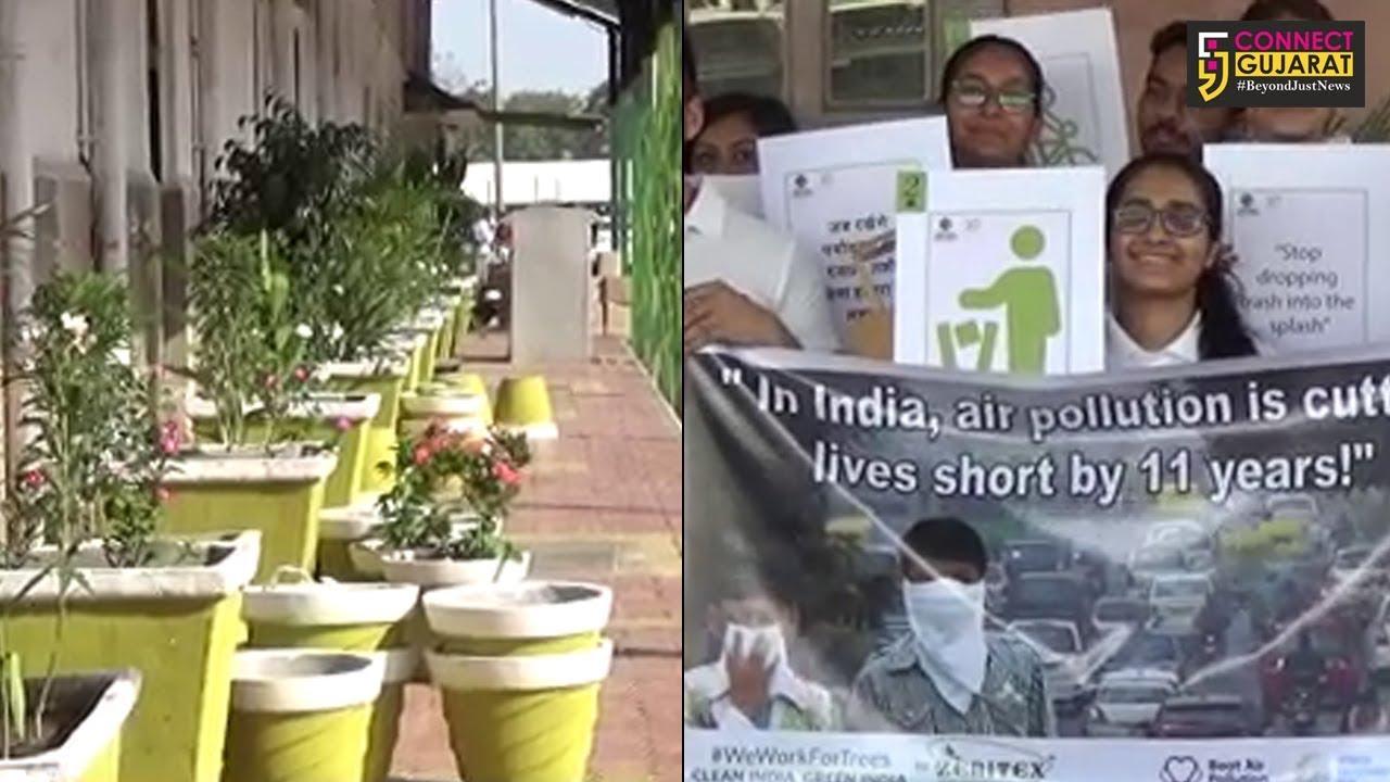 સુરત: ૧૫૦૦ છોડ રોપી સ્લોગનો સહિતની પેઇન્ટિંગ કરી ઉધના રેલવે સ્ટેશનને બનાવ્યું ગ્રીન