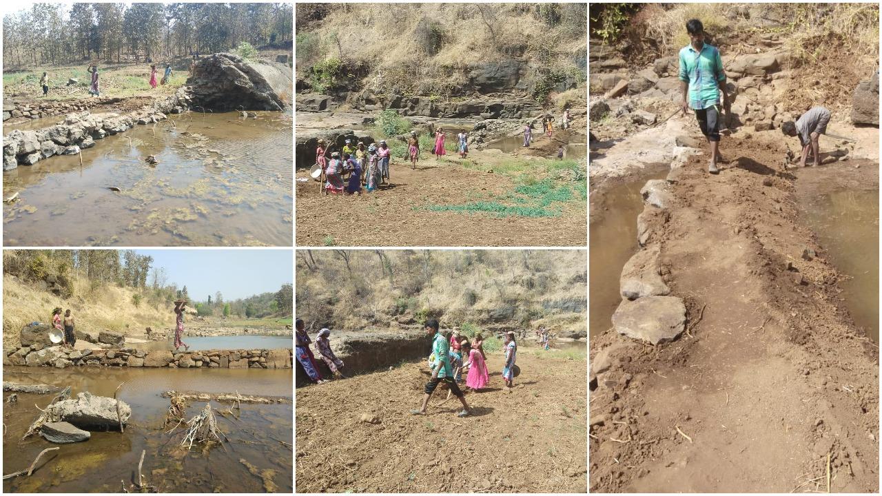 ડાંગ : ઉનાળાના આગમને આંબાપાડાના લોકોએ અંબિકા નદી પર બંધ બનાવી કર્યો પાણીનો સંગ્રહ