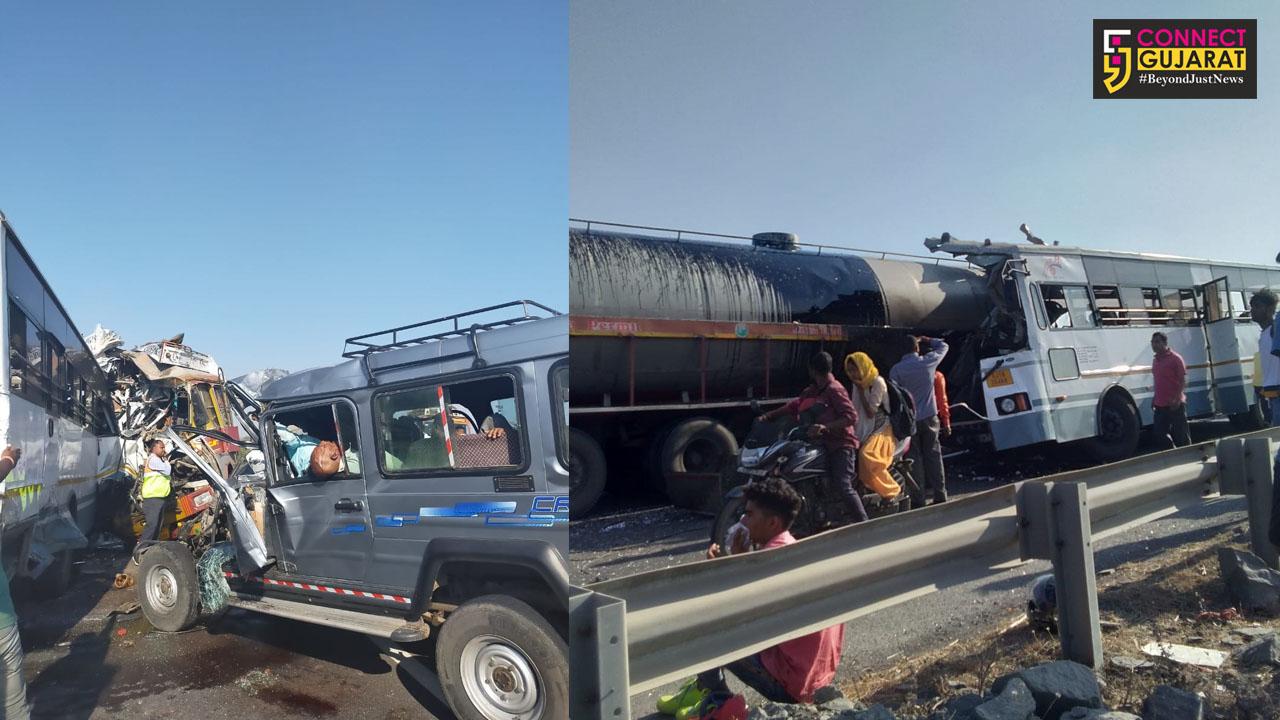 સોનગઢ : રોંગ સાઇડથી આવેલું ટેન્કર 10 લોકો માટે બન્યું યમદુત, એસટી બસનો વળી ગયો કચ્ચરઘાણ